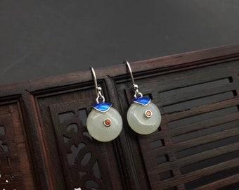 Silver round jade earrings - Nephrite earrings- green gemstone earrings- Zen jewelry- Amulet- Talisman- Yoga Jewelry