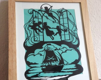 Peter Pan framed paper cut - design by Bramble Crafts