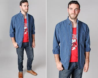 Vintage Men's Vertical Stripe Denim Button Up- Long Sleeve Casual Pinstripe Woven Collared Oxford Shirt Top Blue - Size Medium or Large