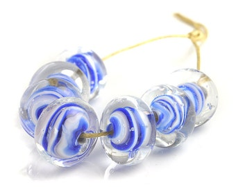 Blue Striped Lampwork Beads | Blue and White Lampwork Glass Beads | Blue Swirls Handmade Bead Set | Flameworked Beads | UK SRA artisan beads