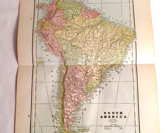 """Large 1893 Antique Map of South America engraved by George F. Cram from the Atlas """" The Pacific Coast and The World"""" 1892 Chicago, Ill"""