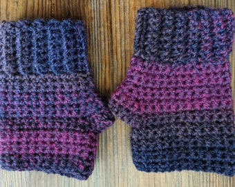 Purple Crochet Fingerless Gloves