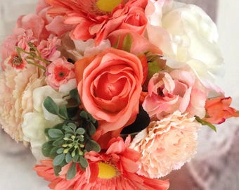 New Artificial Coral Reef Wedding Bouquet, Coral Bridal Bouquet
