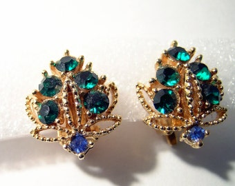 Vintage Rhinestone earrings blue green gold tone clip earrings