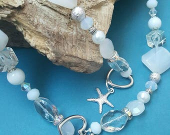 BEACH ADVENTURES - High quality white and silver necklace and bracelet set