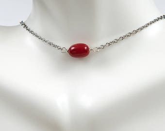 Red Coral Necklace/Dainty Red Coral Necklace/ layering necklace/ Dainty necklace