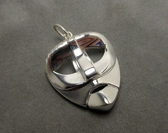 Mask pendant - Sterling silver