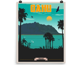 Oahu Hawaii | Vintage-Style Travel Poster on Photo paper