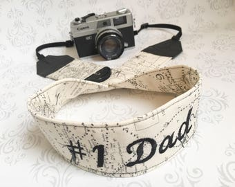 Personalized Camera Strap, 2 Lens Cap Pockets, Padded, Travel Photographer, Nikon or Canon Camera, Photographer Gift - Maps with #1 Dad