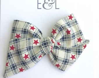 Patriotic plaid large hand tied bow on headband or hair clip