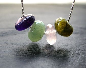 Guinevere Necklace. Amethyst, Rose Quartz, Aventurine, Jade