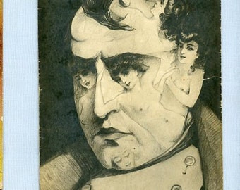 Postcard, Napoleon Face Made of Images of Women, 1910, Fantasy Transformation