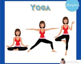 Yoga Instructor Logo | Yoga Pose | Yoga Blog Avatar | Clip Art Illustration Portrait Logo Personalized Customized Vector Art