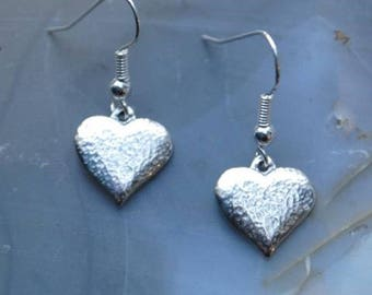 Textured Heart Pewter Earrings