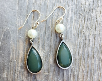 Earrings. Aqua Silver Pearl Earrings. Blue Sea Green Dangle Earrings. Pearl Drop Earrings. Spring Jewelry. Mothers Day Gift. Bridal Jewelry.