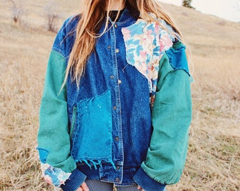 Made With Love Patched Denim Jacket - Oversized -Refurbished