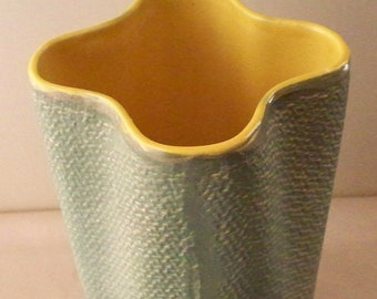 Mid Century Shawnee Pottery Vase Textured Pottery  Basket Weave or Burlap Weave Pattern Green and Yellow Mid Century Mod Decor