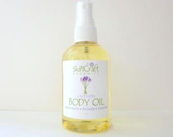 Lavender Body Oil - Natural Lavender Moisturizer / Lavender Bath Oil / Lavender Massage Oil - w/ Organic Jojoba - Vegan - 4 oz