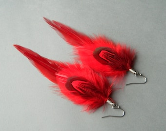 Red long feather earrings - Bohemian jewelry - Boho accessories - Summer fashion - Festival jewelry - Free spirit style jewelry