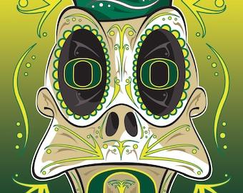 University of Oregon Duck Sugar Skull 11x14 print