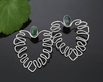 Emerald leaves - silver earrings