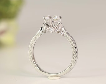 Art Deco Engagement Ring - Vintage Inspire Ring - Antique Style - Round Cut Solitaire Ring - 1 Carat - Sterling Silver
