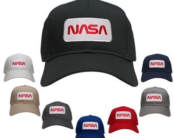 NASA Worm Red Text Embroidered Iron On Patch Snapback Baseball Cap (27-079-PM303)