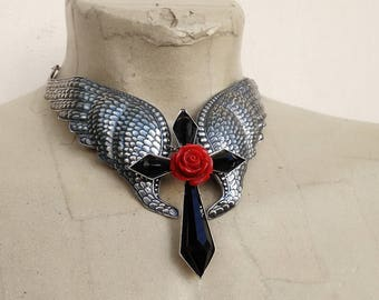 Large Wings Necklace Black Gothic Cross Pendant Red Rose Silver Wings Choker Necklace Gothic Jewelry