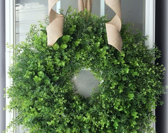 Mixed Greenery Wreath w/ Natural Linen Bow/ Eucalyptus Wreath/ Boxwood Wreath/ Greenery Wreath
