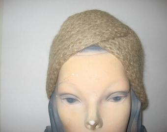 1960's-70's Beige Knit Turban!