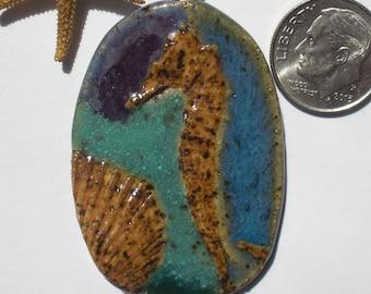 Stoneware Seahorse and Scallop Shell Pendant
