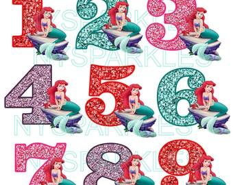 Little Mermaid Ariel Birthday Number For Dark or Light Fabric - Printed Vinyl Iron-On Heat Transfer - DIY Iron-On No-Sew