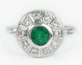 Edwardian AAA+ Colombian Emerald & Diamond Engagement Ring 18K, Emerald And Diamond Engagement Ring, Round Emerald Engagement Ring