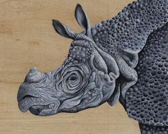 SOLD ITEM / Java Rhino art / rhino, original painting / extinct, endangered species / kid's room art / grey, wrinkled skin, horn