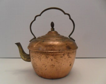 Vintage Copper and Brass Tea Kettle Nice patina