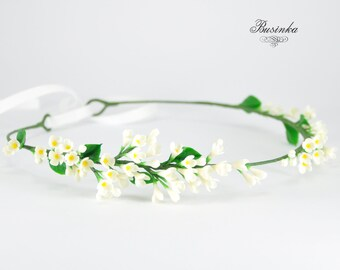 White Lilac Hair Accessories - Flower Crown - Lilac wreath - Flower headband - Rustic wreath - Romantic Flower Headband - Lilac wreath