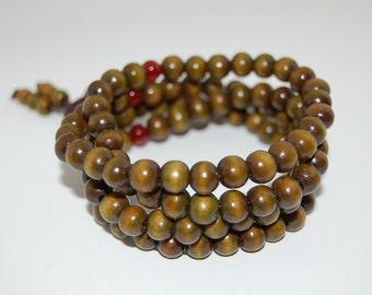 Buddhist Necklace,Wood Necklace,Green Wood 8mm Beads,Spirituality,108 mala Necklace,Prayer,Men,Woman,Yoga Bracelet,Protection,Meditation