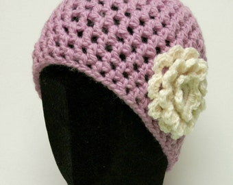 Wool Beanie Hat - Lilac with Flower