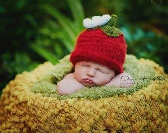 Crochet Strawberry Beanie - Newborn