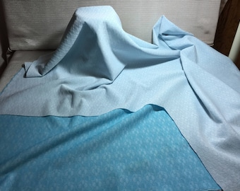 Vintage Polyester 1/2 Yard White Blue Double Knit Fabric