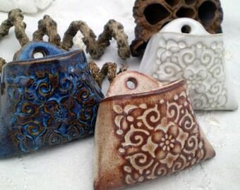 Miniature Ceramic Wall Pocket, Square Flower Pattern, Air Plant Holder, Indoor Planter, Clay Wall Vase, Ceramic Wall Decor