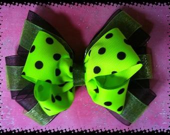 Neon Green & Black Polka Dot Boutique Hair Bow.  Alligator clip or Barrette