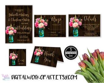 DIY Floral Rustic Wedding Mason Jar Invitation Template Set, Editable PDF, instant download, printable country boho wedding set,