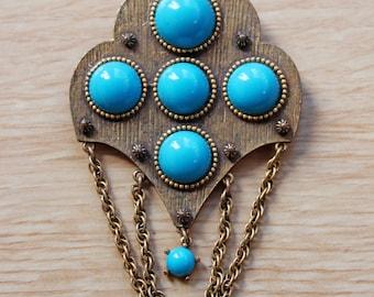 70s Gold and Aqua Brooch / 1970s / Boho / Bohemian / Beachy / Turquoise / Hippie Style / Costume Jewellery