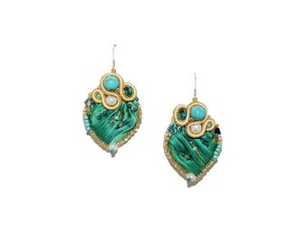 Free shipping USA & Canada. Soutache Statement Earrings with Shibori Silk, Howlite, Freshwater Pearls. White Gold Turquoise Green Earrings