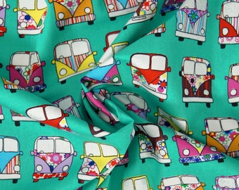 Handmade Cushion Cover - Rose & Hubble - VW Campervan Retro - Various Colours and Sizes Green
