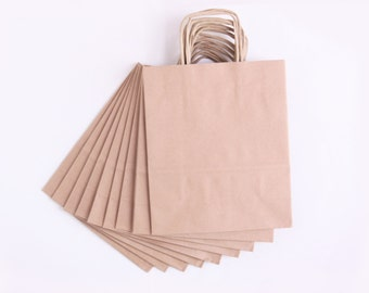 10 eco paper bag brown kraft paper bag with handles, small shopping bag, gift packaging shop DIY wrap birthday, party favors, wedding