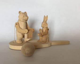 hand held wooden toy articulated hand carved wooden musical bear rabbit toy vintage made in USSR music bear toy handheld carved wood toy