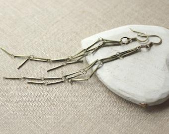 Very long dangle earrings Brass chain HOOK or Clip On Earrings long dangly lightweight shoulder duster simple metal 4 inch long earring E306