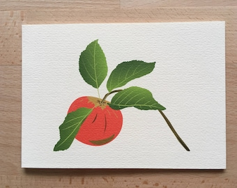 Apple Card, Fruit Card, Apple Print, Blank Card, Thank You, Get Well Soon, Gardener Card, Birthday card, Illustrated Card, Food Card